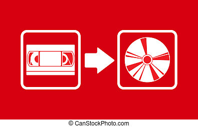 Vector vhs to cd transfer - Vector illustration of vhs to cd...