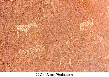 The famous prehistoric rock engravings at Twyfelfontein,...