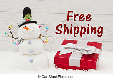 Free Shipping message, Some snow, Christmas present and a...