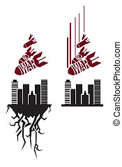 Vector red and black stencil - Vector red and black no war...
