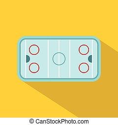 Ice hockey rink icon, flat style