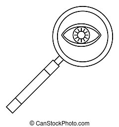Magnifying glass icon, outline style - Magnifying glass...