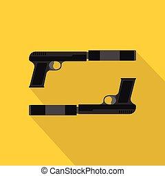 icono, plano, estilo, arma de fuego