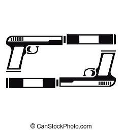 icono,  simple, estilo, arma de fuego