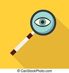 Magnifying glass icon, flat style - Magnifying glass icon....