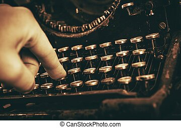 Typing on Vintage Typewriter - Typing on Aged Vintage...