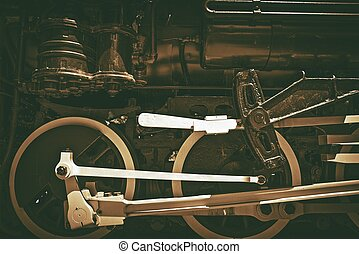 Old Steam Locomotive. Sepia Color Grading. Vintage Railroad...