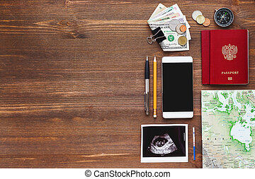 Travel while being pregnant background. Different things you...
