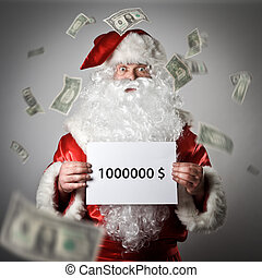 Santa Claus is holding a white paper in his hands. One...