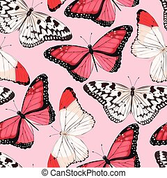 Colorful butterflies seamless - High detailed pink...