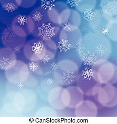 Modern christmas backdrop with various white transparent snowflakes on purple, pink and blue background bokeh effect. Soft and blurred circles.