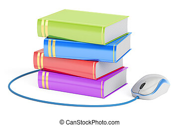 E-learning concept, books with computer mouse. 3D rendering