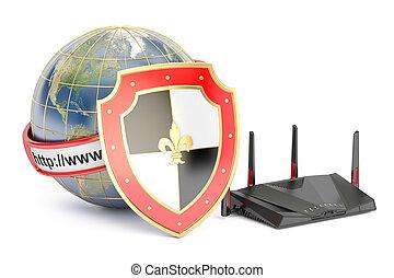 schützen, schutzschirm, begriff, Übertragung,  Router,  Internet, erde,  3D