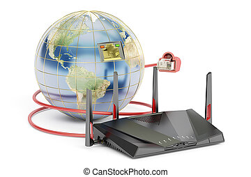 global networking connection concept, earth with router. 3D rendering