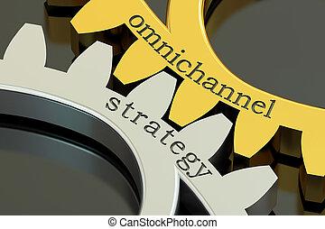 omnichannel strategy concept on the gearwheels, 3D rendering