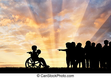 Disabled child in a wheelchair with a ball and the children do not want to play with him