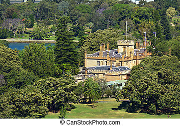 Aerial view of The Government House in Sydney Australia -...