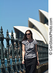 Young woman visiting in Sydney New South Wales, Australia....