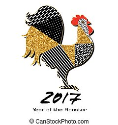 Rooster with gold tinsel and patterns made by hand . Symbol of 2017 for your design.