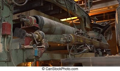 Industry. View of conveyor machine with bricks, close-up
