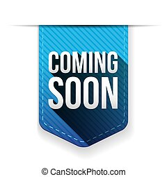 Coming Soon blue ribbon vector