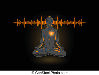 Vector illustration of yoga listening his heart, isolated on...