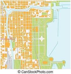 street map of downtown Chicago Illinois - vector street map...
