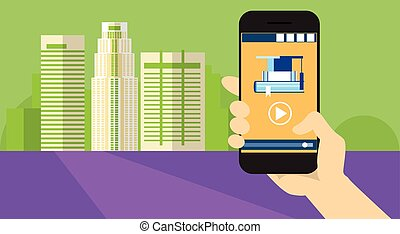 Hand Hold Cell Smart Phone Application Online Elearning...