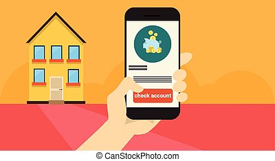 Hand Hold Cell Smart Phone Application Online Banking...