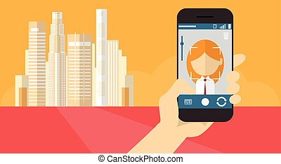 Hand Hold Cell Smart Phone Application Online Photo Editor...