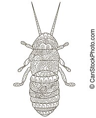 Beetle Coloring vector for adults - Beetle Coloring pet...