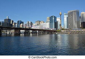 Cityscape of Darling Harbour at sunset Sydney New South...