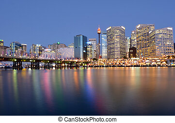 Cityscape of Darling Harbour at dusk Sydney New South Wales...