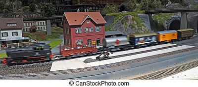 Miniature model of the steam train - Panoramic aerial view...