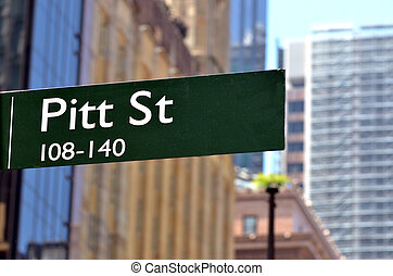 Street sign of Pitt Street in Sydney New South Wales,...