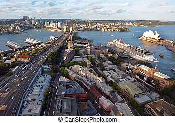 Aerial urban landscape view of Sydney Harbour Sydney New...