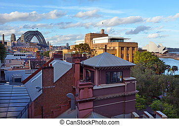 Aerial urban landscape view of The Rocks in Sydney Australia...