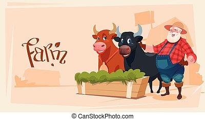 Farmer Breeding Animals Cow Farmland Background Flat Vector...