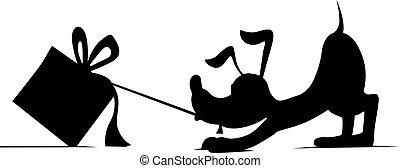 silhouette of a dog pulling up behind gift - vector illustration