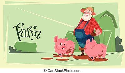 Farmer Feed Pig Pork Butcher Animal Farm Flat Vector...