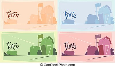 Silhouette Farm With House, Farmland Countryside Landscape...