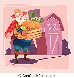 Farmer Hold Box With Vegetables Farmland Background...