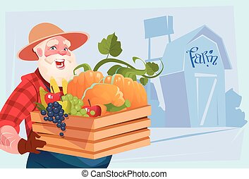 Farmer Hold Box With Vegetables Farmland Background Flat...