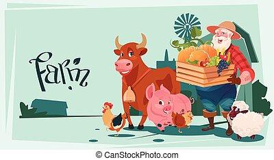 Farmer Hold Box With Vegetables Breeding Animals Farmland...