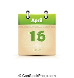 Calendar Data Page Easter Holiday 16 April Flat Vector...