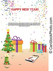Decorated Workplace Cell Smart Phone Happy New Year...