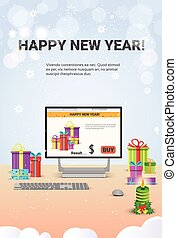 Decorated Workplace Computer Happy New Year Decoration Flat...