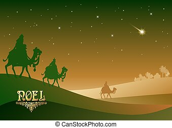 Biblical Christmas illustration: three Wise Men are visiting...