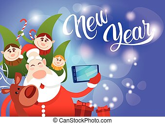 Santa Claus With Reindeer Elfs Making Selfie Photo, New Year...