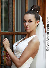 Beautiful bride - The beautiful bride about a door. Natural...